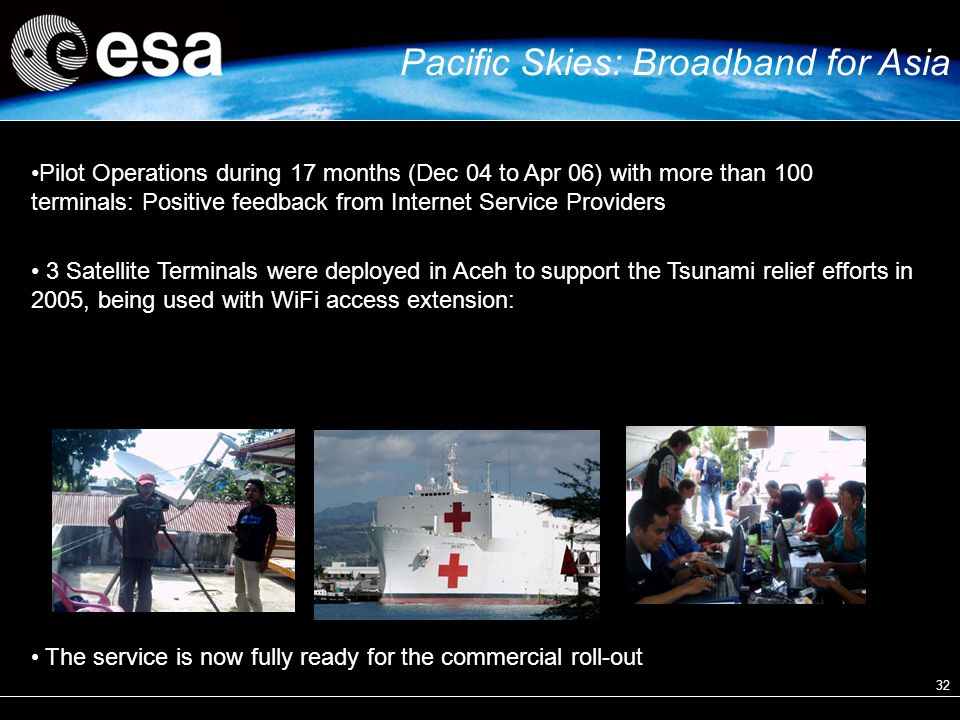 32 Pilot Operations during 17 months (Dec 04 to Apr 06) with more than 100 terminals: Positive feedback from Internet Service Providers 3 Satellite Terminals were deployed in Aceh to support the Tsunami relief efforts in 2005, being used with WiFi access extension: The service is now fully ready for the commercial roll-out Pacific Skies: Broadband for Asia