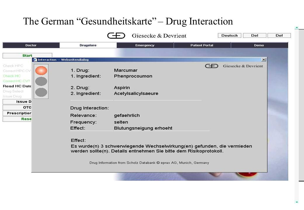 Broadband access for e-health applications Tuxtla, May 2006 The German Gesundheitskarte – Drug Interaction