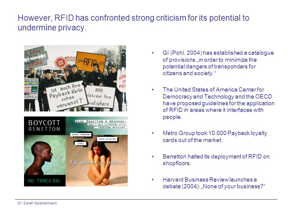 Dr. Sarah Spiekermann However, RFID has confronted strong criticism for its potential to undermine privacy. GI (Pohl, 2004) has established a catalogu