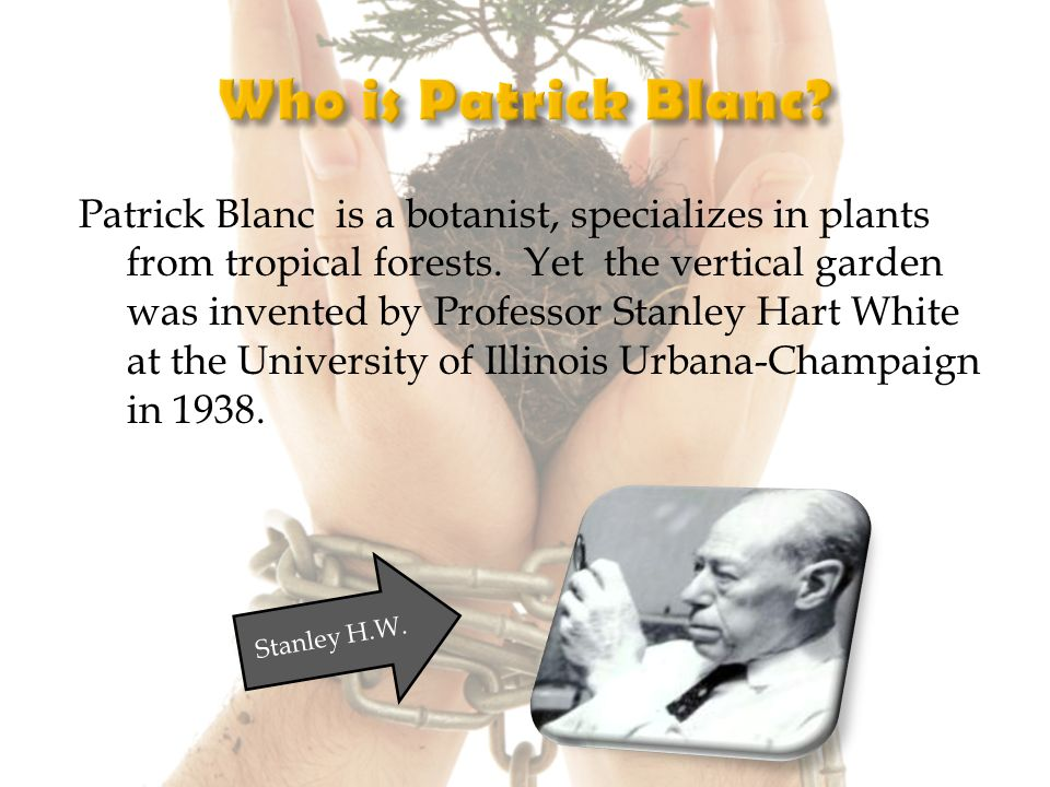 Patrick Blanc is a botanist, specializes in plants from tropical forests.