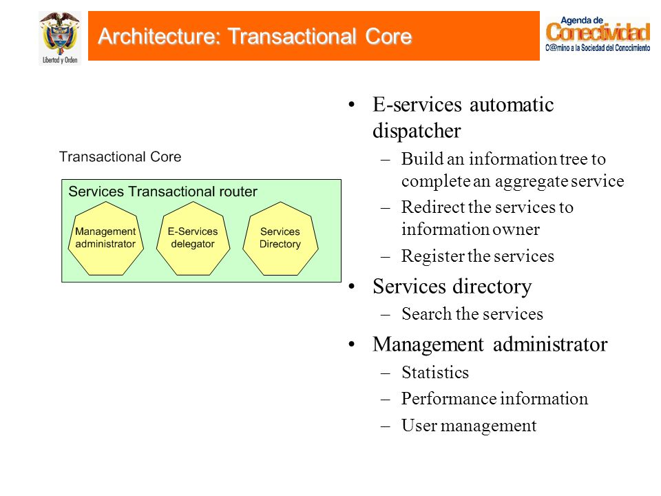 E-services automatic dispatcher –Build an information tree to complete an aggregate service –Redirect the services to information owner –Register the services Services directory –Search the services Management administrator –Statistics –Performance information –User management