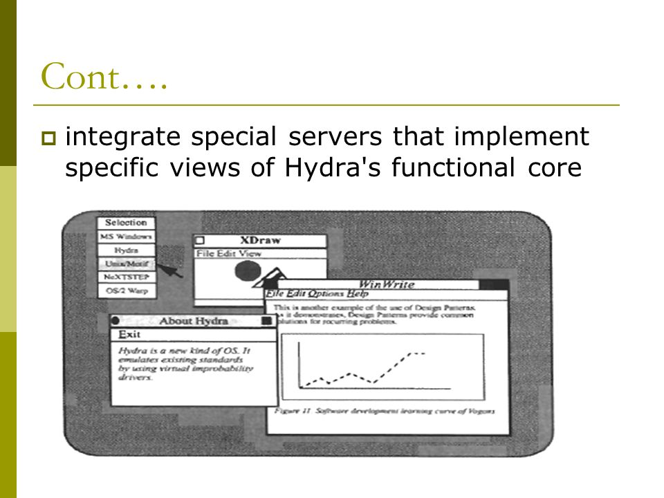 Cont…. integrate special servers that implement specific views of Hydra s functional core