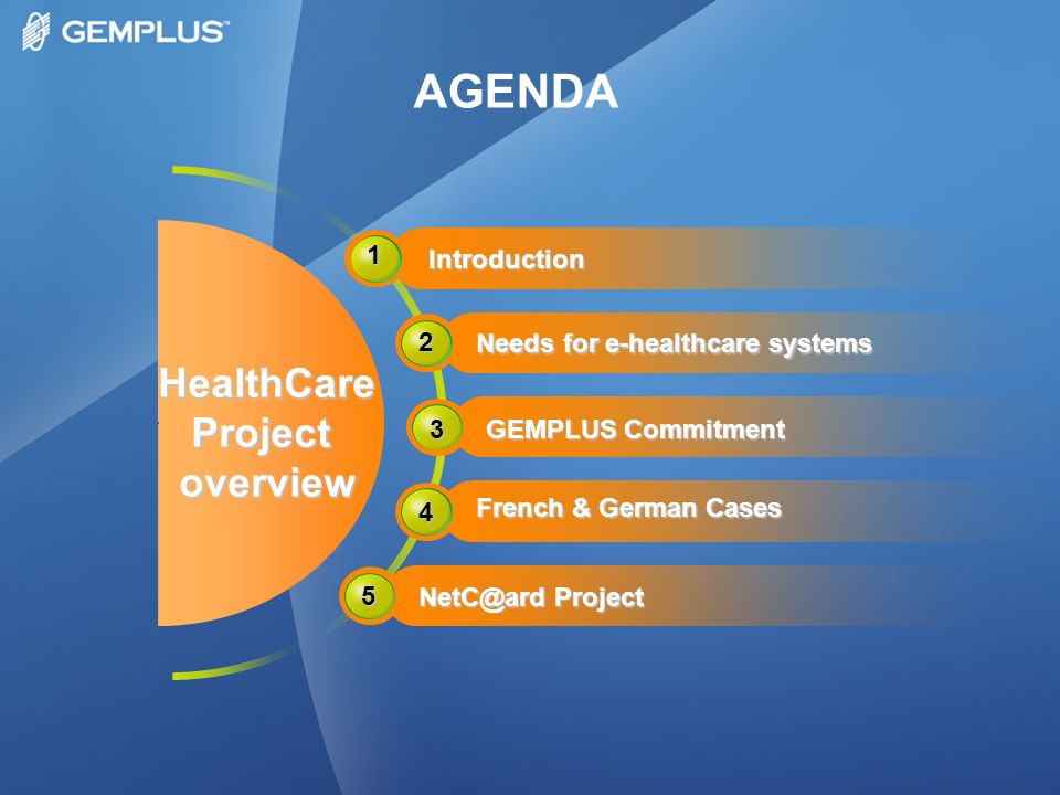 HealthCareProjectoverview 1 Introduction 2 Needs for e-healthcare systems 3 GEMPLUS Commitment 5 NetC@ard Project 4 French & German Cases AGENDA