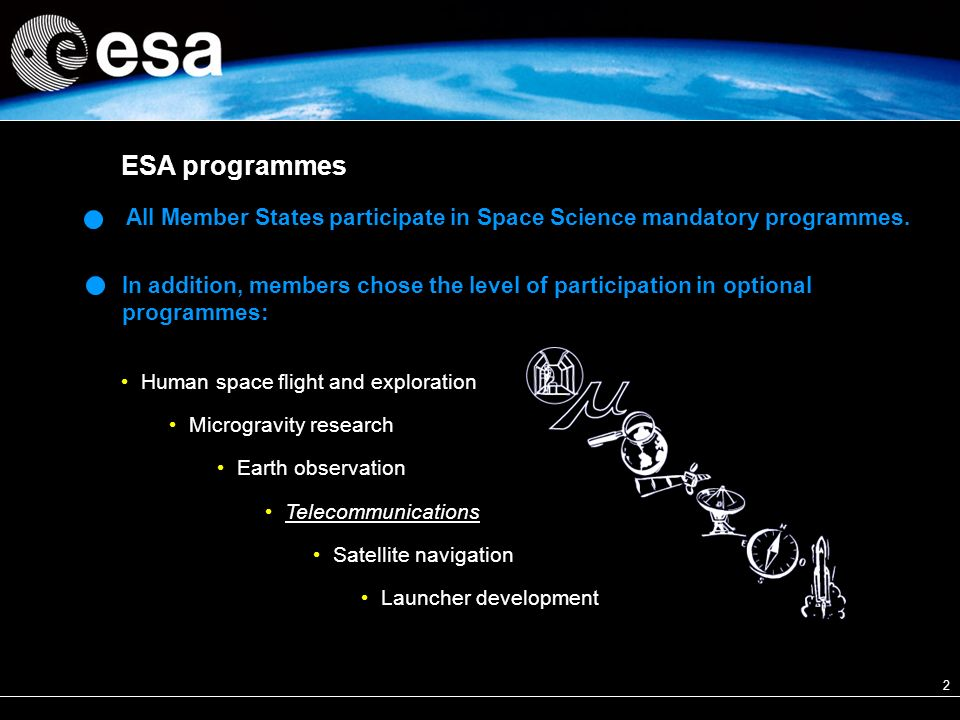 2 All Member States participate in Space Science mandatory programmes.