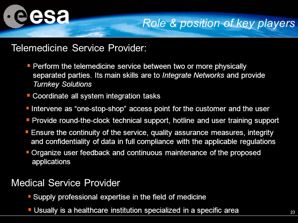 23 Telemedicine Service Provider: Coordinate all system integration tasks Intervene as one-stop-shop access point for the customer and the user Provide round-the-clock technical support, hotline and user training support Ensure the continuity of the service, quality assurance measures, integrity and confidentiality of data in full compliance with the applicable regulations Organize user feedback and continuous maintenance of the proposed applications Perform the telemedicine service between two or more physically separated parties.