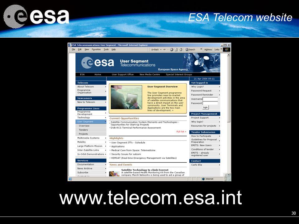 30 ESA Telecom website www.telecom.esa.int