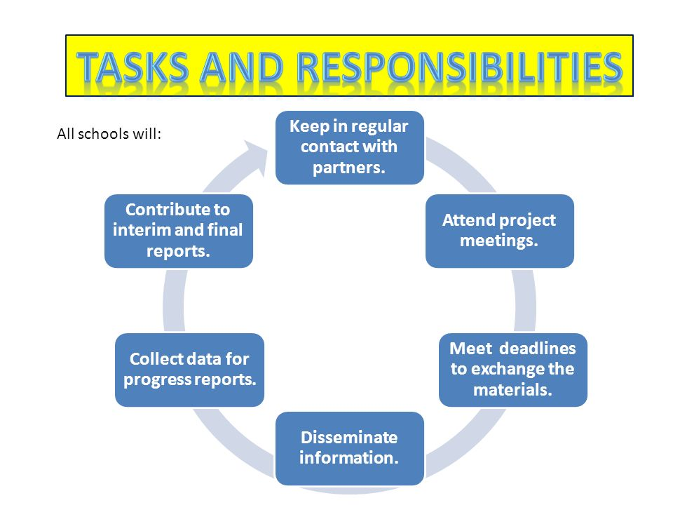 All schools will: Keep in regular contact with partners. Attend project meetings. Meet deadlines to exchange the materials. Disseminate information. C