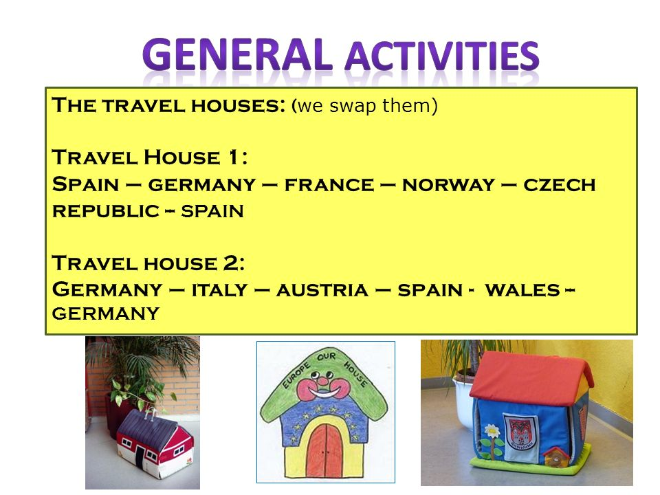 The travel houses: ( we swap them) Travel House 1: Spain – germany – france – norway – czech republic -- SPAIN Travel house 2: Germany – italy – austria – spain - wales -- GERMANY