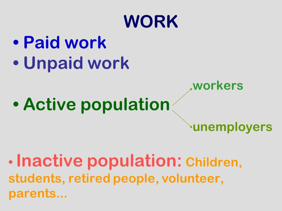 WORK Paid work Unpaid work workers Active population unemployers Inactive population: Children, students, retired people, volunteer, parents...