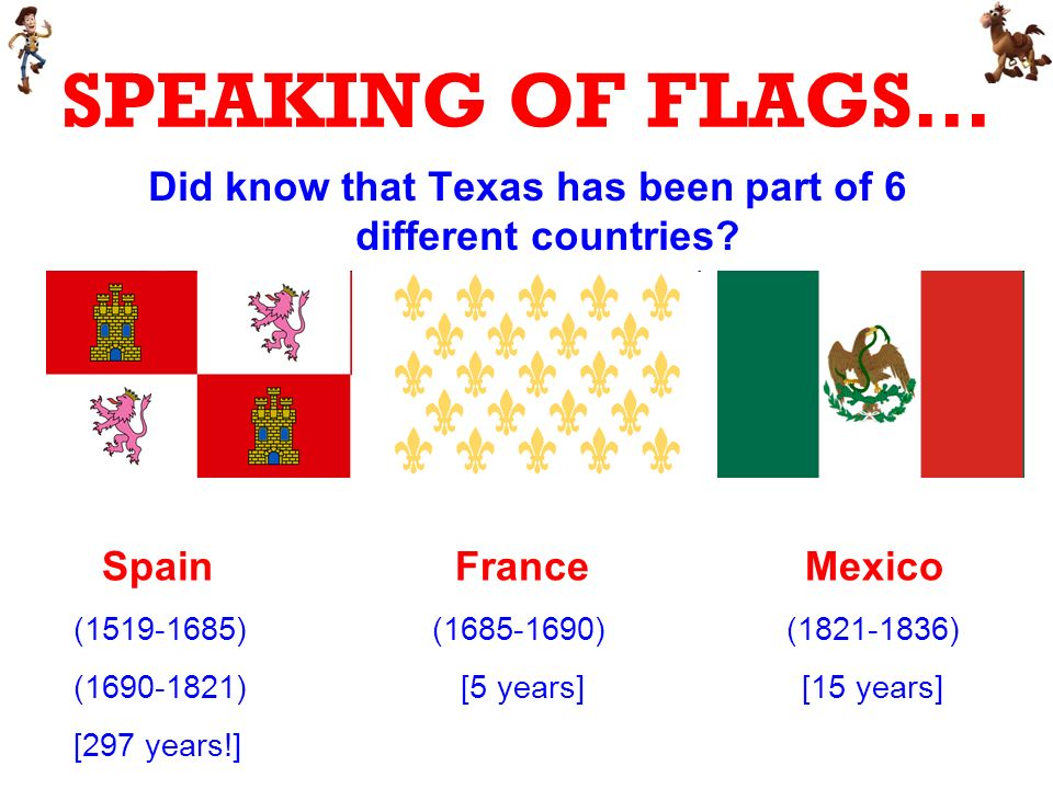 SPEAKING OF FLAGS… Did know that Texas has been part of 6 different countries.