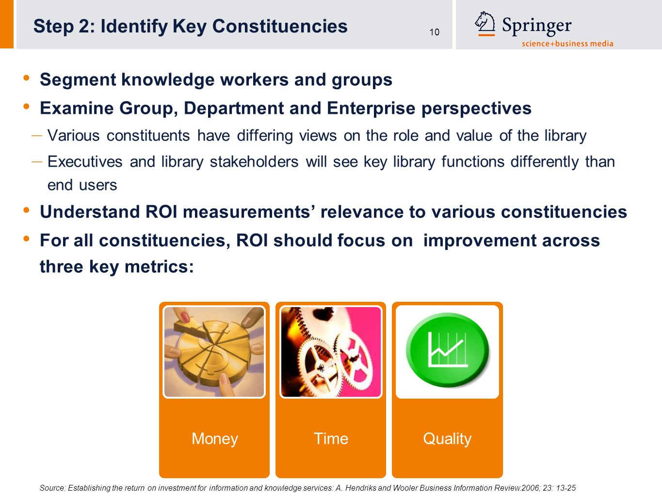 10 Segment knowledge workers and groups Examine Group, Department and Enterprise perspectives – Various constituents have differing views on the role and value of the library – Executives and library stakeholders will see key library functions differently than end users Understand ROI measurements relevance to various constituencies For all constituencies, ROI should focus on improvement across three key metrics: Step 2: Identify Key Constituencies MoneyTimeQuality Source: Establishing the return on investment for information and knowledge services: A.
