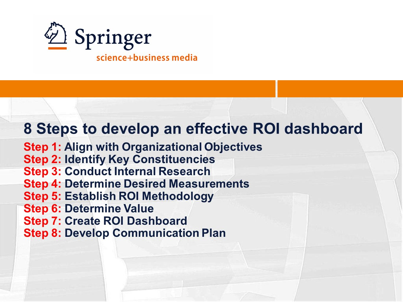 8 Steps to develop an effective ROI dashboard Step 1: Align with Organizational Objectives Step 2: Identify Key Constituencies Step 3: Conduct Internal Research Step 4: Determine Desired Measurements Step 5: Establish ROI Methodology Step 6: Determine Value Step 7: Create ROI Dashboard Step 8: Develop Communication Plan