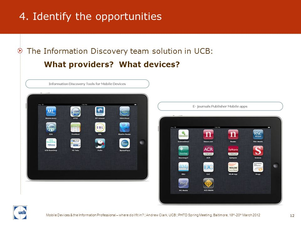 12 4. Identify the opportunities The Information Discovery team solution in UCB: What providers.