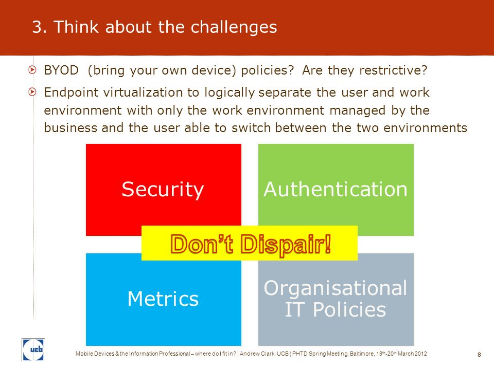 88 3. Think about the challenges Mobile Devices & the Information Professional – where do I fit in.