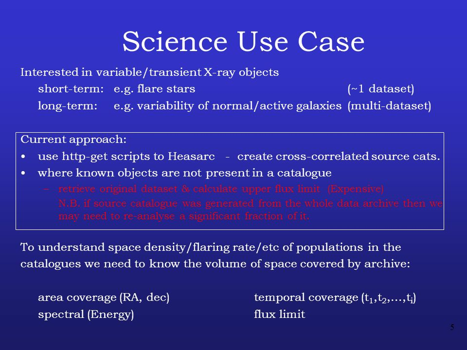 5 Science Use Case Interested in variable/transient X-ray objects short-term: e.g.