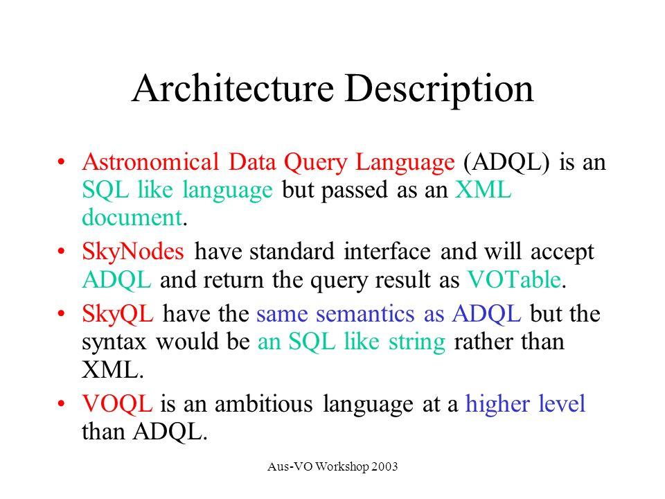 Aus-VO Workshop 2003 3 Layers of VOQL