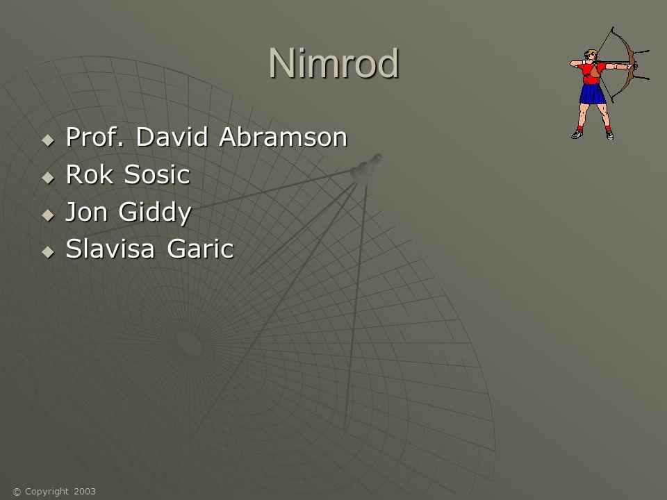 © Copyright 2003 Nimrod Prof.David Abramson Prof.
