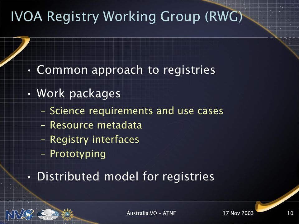 17 Nov 2003Australia VO - ATNF10 IVOA Registry Working Group (RWG) Common approach to registries Work packages –Science requirements and use cases –Resource metadata –Registry interfaces –Prototyping Distributed model for registries