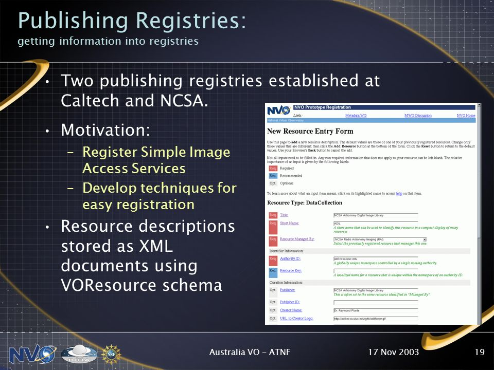 17 Nov 2003Australia VO - ATNF19 Publishing Registries: getting information into registries Two publishing registries established at Caltech and NCSA.