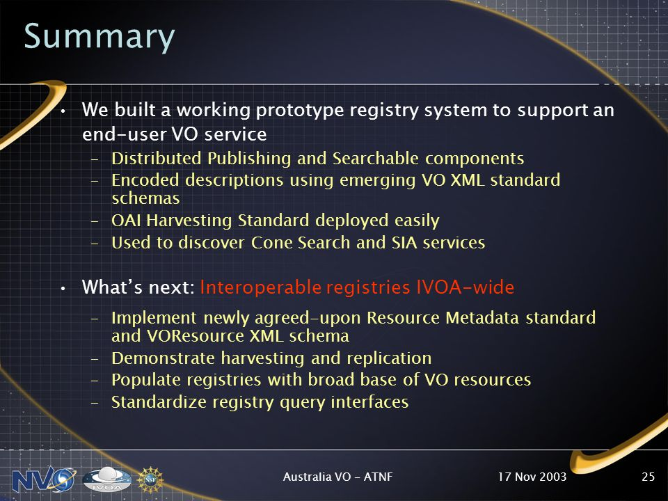 17 Nov 2003Australia VO - ATNF25 Summary We built a working prototype registry system to support an end-user VO service –Distributed Publishing and Searchable components –Encoded descriptions using emerging VO XML standard schemas –OAI Harvesting Standard deployed easily –Used to discover Cone Search and SIA services Whats next: Interoperable registries IVOA-wide –Implement newly agreed-upon Resource Metadata standard and VOResource XML schema –Demonstrate harvesting and replication –Populate registries with broad base of VO resources –Standardize registry query interfaces