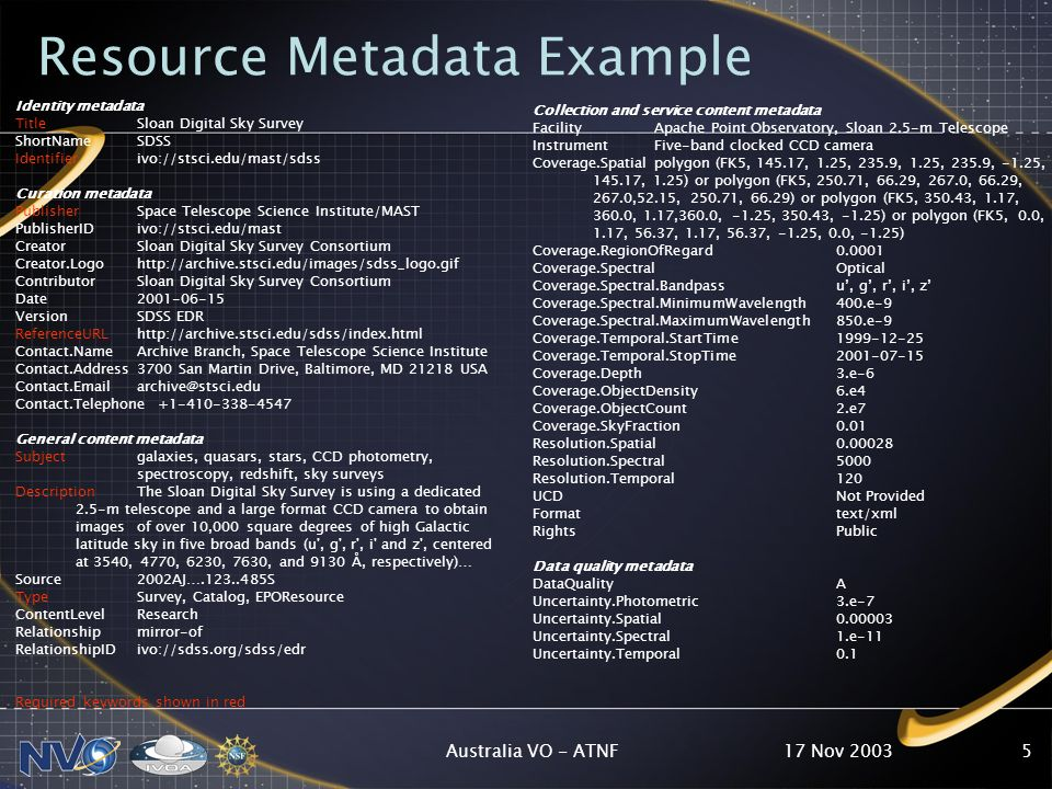 17 Nov 2003Australia VO - ATNF5 Resource Metadata Example Identity metadata TitleSloan Digital Sky Survey ShortNameSDSS Identifierivo://stsci.edu/mast/sdss Curation metadata PublisherSpace Telescope Science Institute/MAST PublisherIDivo://stsci.edu/mast CreatorSloan Digital Sky Survey Consortium Creator.Logohttp://archive.stsci.edu/images/sdss_logo.gif ContributorSloan Digital Sky Survey Consortium Date VersionSDSS EDR ReferenceURLhttp://archive.stsci.edu/sdss/index.html Contact.NameArchive Branch, Space Telescope Science Institute Contact.Address3700 San Martin Drive, Baltimore, MD USA Contact.Telephone General content metadata Subjectgalaxies, quasars, stars, CCD photometry, spectroscopy, redshift, sky surveys DescriptionThe Sloan Digital Sky Survey is using a dedicated 2.5-m telescope and a large format CCD camera to obtain images of over 10,000 square degrees of high Galactic latitude sky in five broad bands (u , g , r , i and z , centered at 3540, 4770, 6230, 7630, and 9130 Å, respectively)… Source2002AJ… S TypeSurvey, Catalog, EPOResource ContentLevelResearch Relationshipmirror-of RelationshipIDivo://sdss.org/sdss/edr Required keywords shown in red Collection and service content metadata FacilityApache Point Observatory, Sloan 2.5-m Telescope InstrumentFive-band clocked CCD camera Coverage.Spatialpolygon (FK5, , 1.25, 235.9, 1.25, 235.9, -1.25, , 1.25) or polygon (FK5, , 66.29, 267.0, 66.29, 267.0,52.15, , 66.29) or polygon (FK5, , 1.17, 360.0, 1.17,360.0, -1.25, , -1.25) or polygon (FK5, 0.0, 1.17, 56.37, 1.17, 56.37, -1.25, 0.0, -1.25) Coverage.RegionOfRegard Coverage.SpectralOptical Coverage.Spectral.Bandpassu, g, r, i, z Coverage.Spectral.MinimumWavelength400.e-9 Coverage.Spectral.MaximumWavelength850.e-9 Coverage.Temporal.StartTime Coverage.Temporal.StopTime Coverage.Depth3.e-6 Coverage.ObjectDensity6.e4 Coverage.ObjectCount2.e7 Coverage.SkyFraction0.01 Resolution.Spatial Resolution.Spectral5000 Resolution.Temporal120 UCDNot Provided Formattext/xml RightsPublic Data quality metadata DataQualityA Uncertainty.Photometric3.e-7 Uncertainty.Spatial Uncertainty.Spectral1.e-11 Uncertainty.Temporal0.1