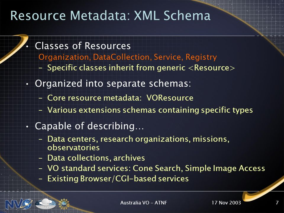 17 Nov 2003Australia VO - ATNF7 Resource Metadata: XML Schema Classes of Resources Organization, DataCollection, Service, Registry –Specific classes inherit from generic Organized into separate schemas: –Core resource metadata: VOResource –Various extensions schemas containing specific types Capable of describing… –Data centers, research organizations, missions, observatories –Data collections, archives –VO standard services: Cone Search, Simple Image Access –Existing Browser/CGI-based services