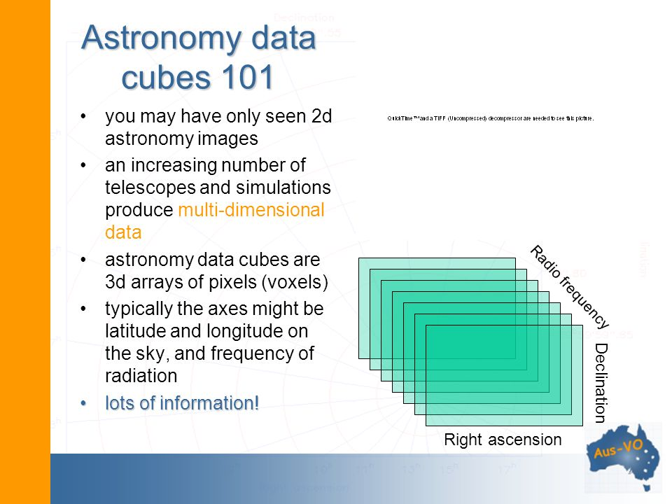 Astronomy data cubes 101 you may have only seen 2d astronomy images an increasing number of telescopes and simulations produce multi-dimensional data astronomy data cubes are 3d arrays of pixels (voxels) typically the axes might be latitude and longitude on the sky, and frequency of radiation lots of information!lots of information.