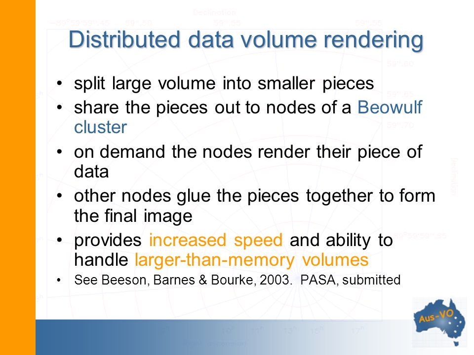 Distributed data volume rendering split large volume into smaller pieces share the pieces out to nodes of a Beowulf cluster on demand the nodes render their piece of data other nodes glue the pieces together to form the final image provides increased speed and ability to handle larger-than-memory volumes See Beeson, Barnes & Bourke, 2003.