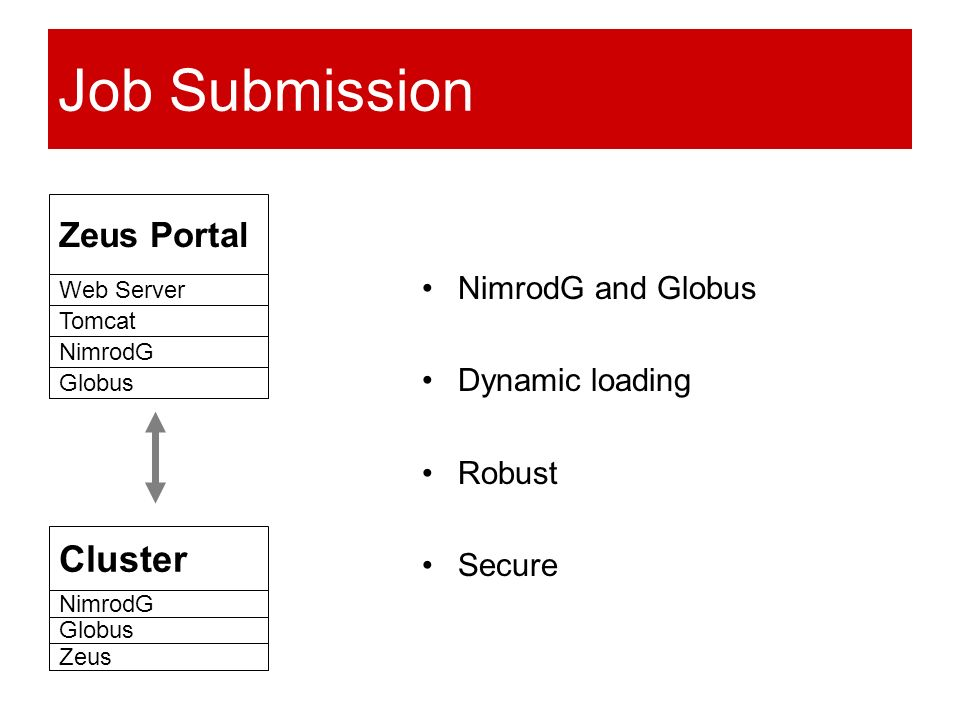 Job Submission NimrodG and Globus Dynamic loading Robust Secure Zeus Portal Web Server Tomcat NimrodG Globus Cluster NimrodG Globus Zeus