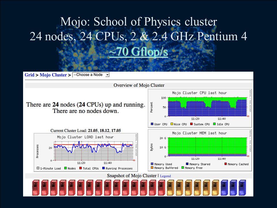 ~70 Gflop/s Mojo: School of Physics cluster 24 nodes, 24 CPUs, 2 & 2.4 GHz Pentium 4 ~70 Gflop/s