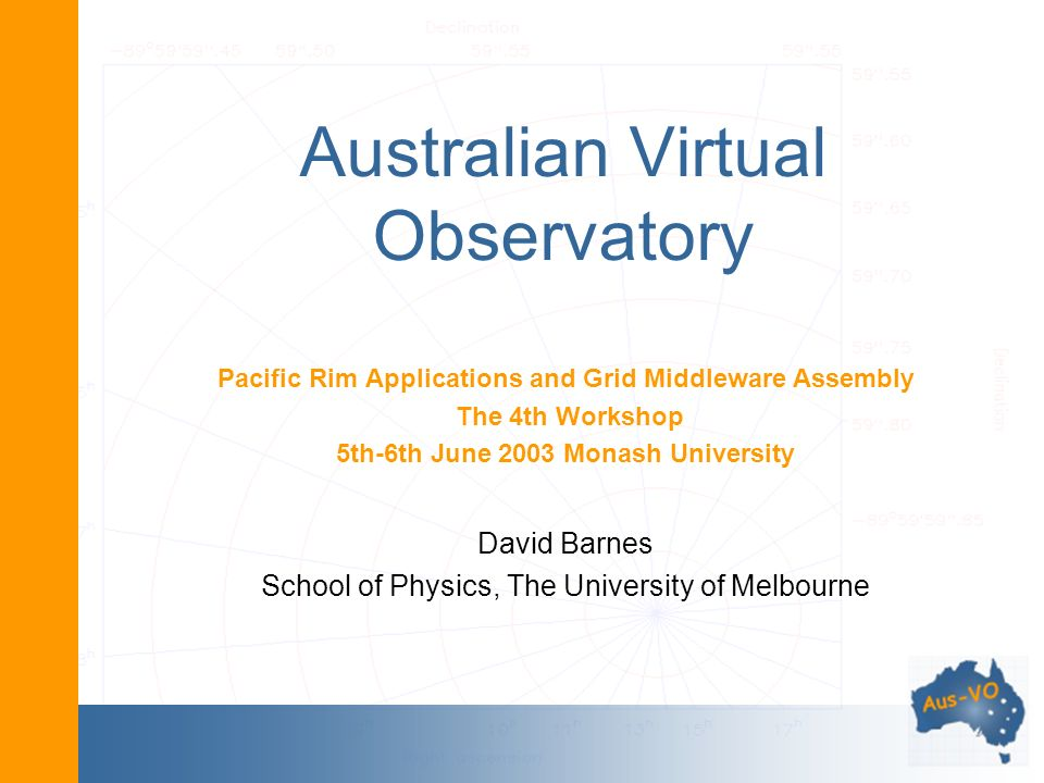 Australian Virtual Observatory Pacific Rim Applications and Grid Middleware Assembly The 4th Workshop 5th-6th June 2003 Monash University David Barnes School of Physics, The University of Melbourne