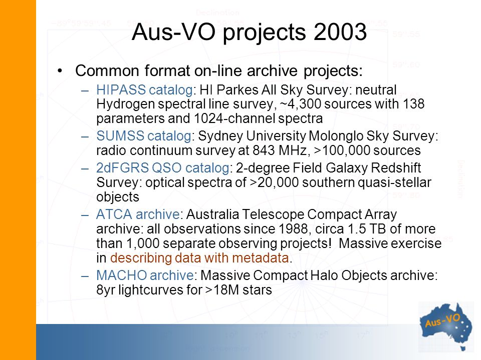 Aus-VO projects 2003 Common format on-line archive projects: –HIPASS catalog: HI Parkes All Sky Survey: neutral Hydrogen spectral line survey, ~4,300 sources with 138 parameters and 1024-channel spectra –SUMSS catalog: Sydney University Molonglo Sky Survey: radio continuum survey at 843 MHz, >100,000 sources –2dFGRS QSO catalog: 2-degree Field Galaxy Redshift Survey: optical spectra of >20,000 southern quasi-stellar objects –ATCA archive: Australia Telescope Compact Array archive: all observations since 1988, circa 1.5 TB of more than 1,000 separate observing projects.