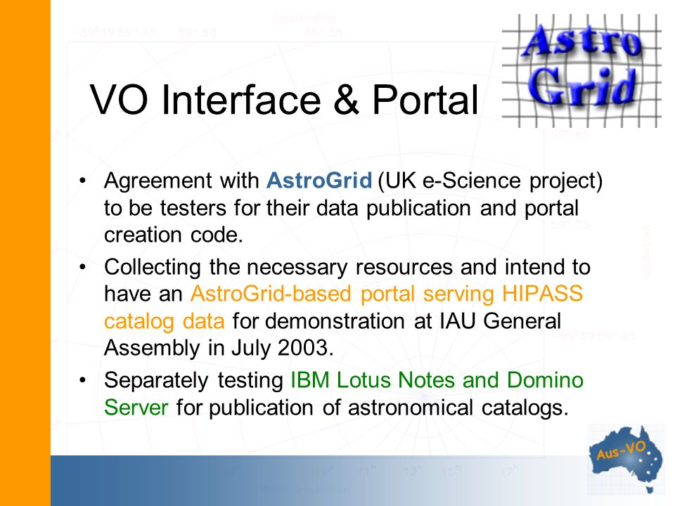 VO Interface & Portal Agreement with AstroGrid (UK e-Science project) to be testers for their data publication and portal creation code.