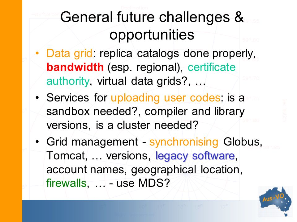 General future challenges & opportunities Data grid: replica catalogs done properly, bandwidth (esp.