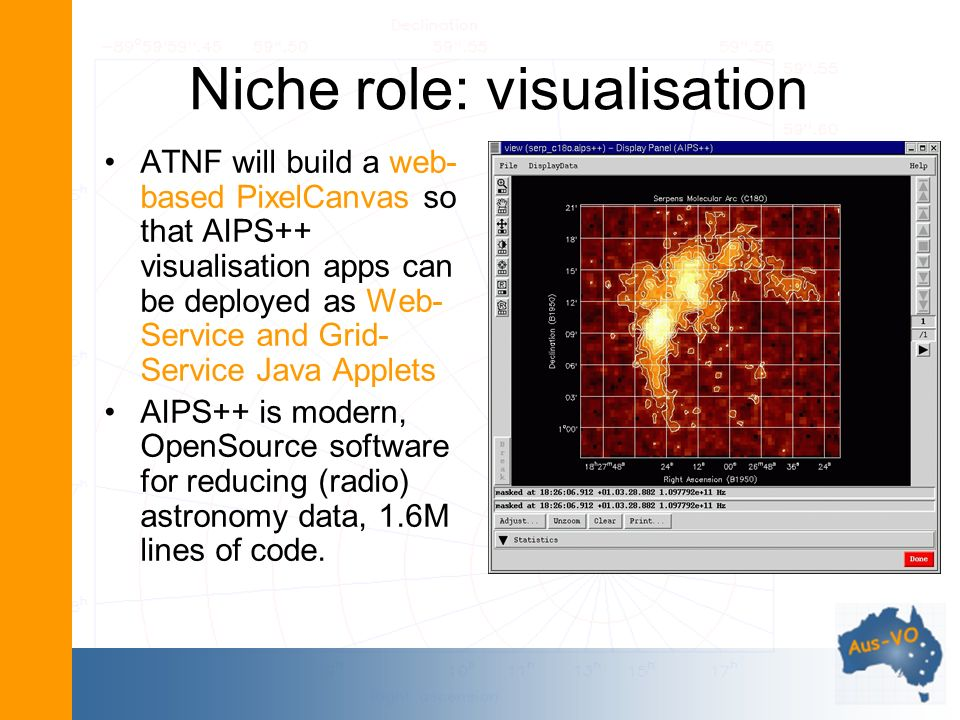 Niche role: visualisation ATNF will build a web- based PixelCanvas so that AIPS++ visualisation apps can be deployed as Web- Service and Grid- Service Java Applets AIPS++ is modern, OpenSource software for reducing (radio) astronomy data, 1.6M lines of code.