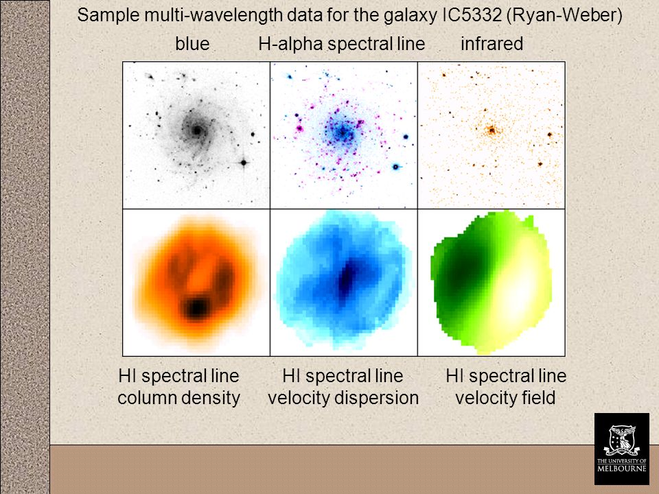 Sample multi-wavelength data for the galaxy IC5332 (Ryan-Weber) blueH-alpha spectral lineinfrared HI spectral line column density HI spectral line velocity field HI spectral line velocity dispersion
