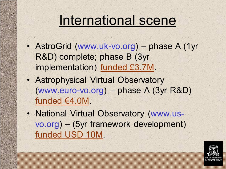 International scene AstroGrid (www.uk-vo.org) – phase A (1yr R&D) complete; phase B (3yr implementation) funded £3.7M.