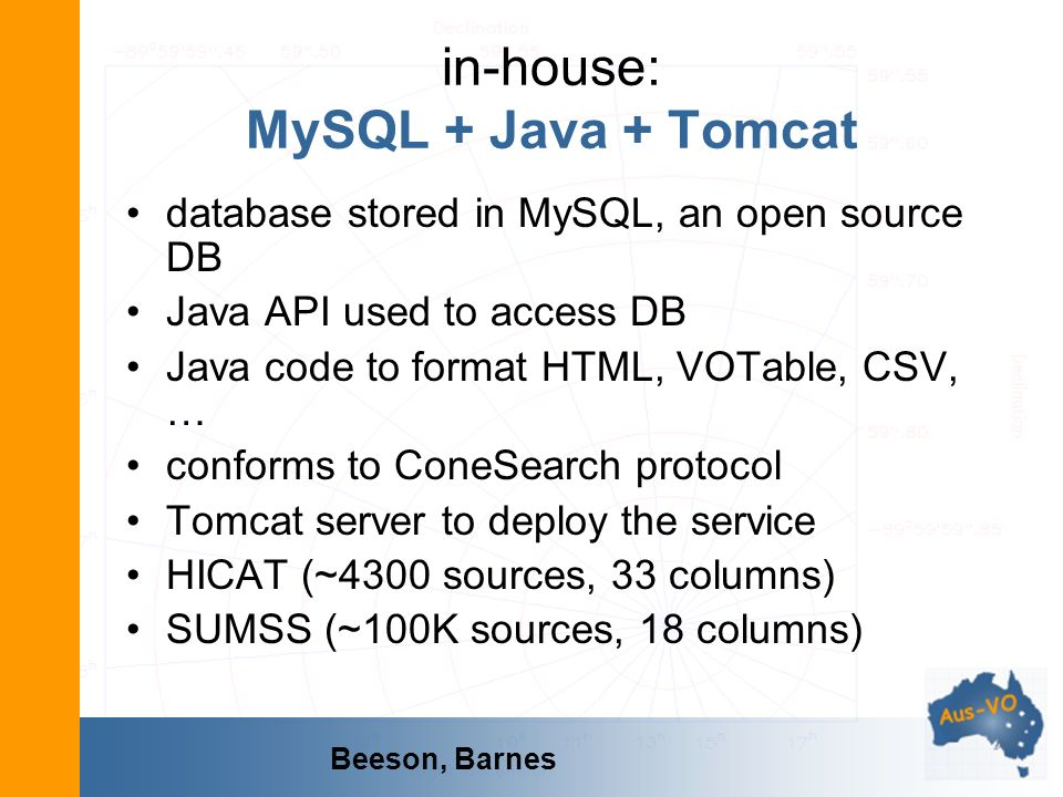 in-house: MySQL + Java + Tomcat database stored in MySQL, an open source DB Java API used to access DB Java code to format HTML, VOTable, CSV, … confo