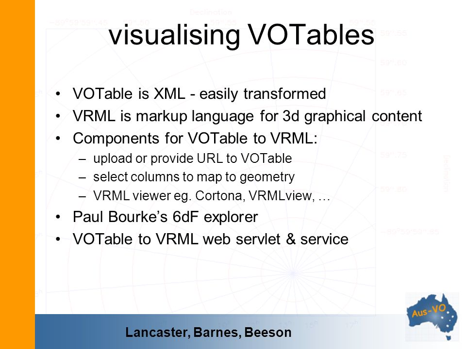 visualising VOTables VOTable is XML - easily transformed VRML is markup language for 3d graphical content Components for VOTable to VRML: –upload or p