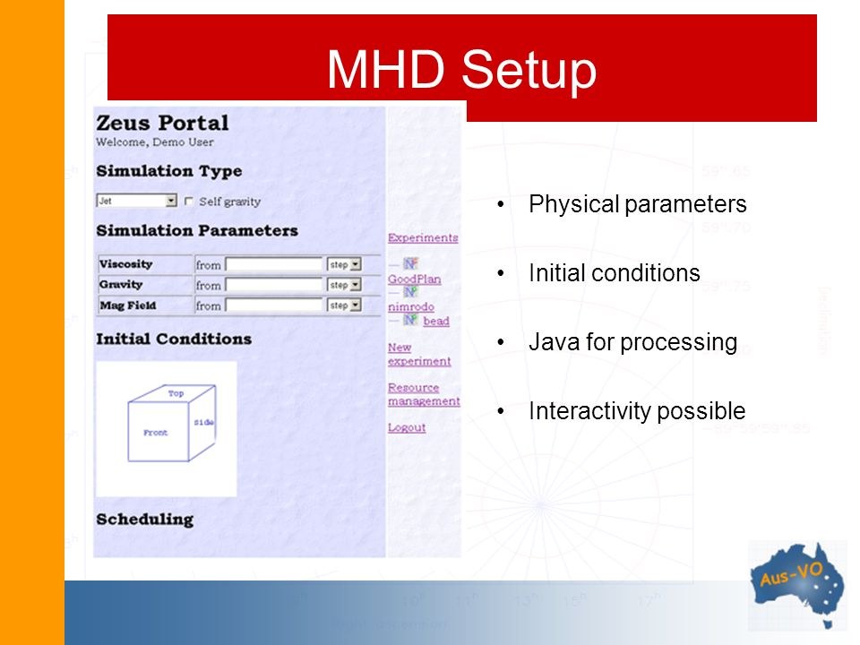 MHD Setup Physical parameters Initial conditions Java for processing Interactivity possible