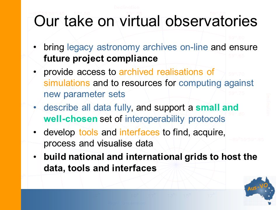 Our take on virtual observatories bring legacy astronomy archives on-line and ensure future project compliance provide access to archived realisations