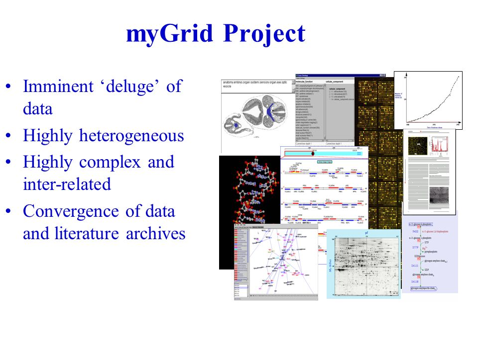 myGrid Project Imminent deluge of data Highly heterogeneous Highly complex and inter-related Convergence of data and literature archives