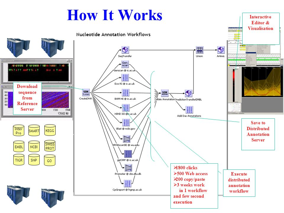 Nucleotide Annotation Workflows How It Works Download sequence from Reference Server Save to Distributed Annotation Server Interactive Editor & Visualisation Execute distributed annotation workflow NCBIEMBL TIGRSNP Inter Pro SMART SWISS PROT GO KEGG 1800 clicks 500 Web access 200 copy/paste 3 weeks work in 1 workflow and few second execution