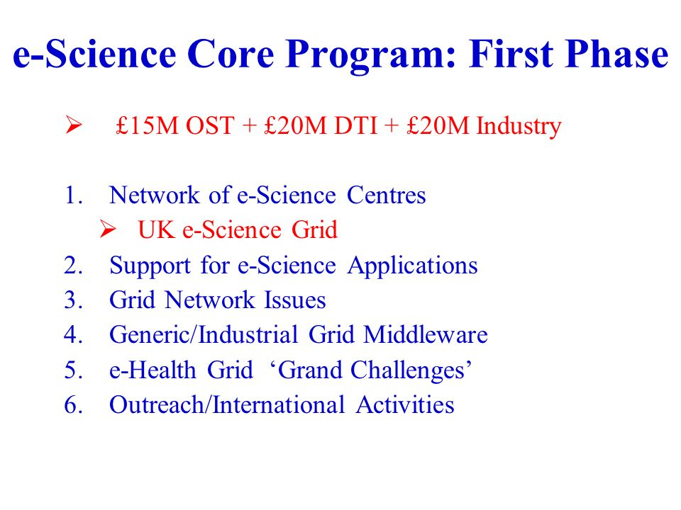 e-Science Core Program: First Phase £15M OST + £20M DTI + £20M Industry 1.Network of e-Science Centres UK e-Science Grid 2.Support for e-Science Applications 3.Grid Network Issues 4.Generic/Industrial Grid Middleware 5.e-Health Grid Grand Challenges 6.Outreach/International Activities