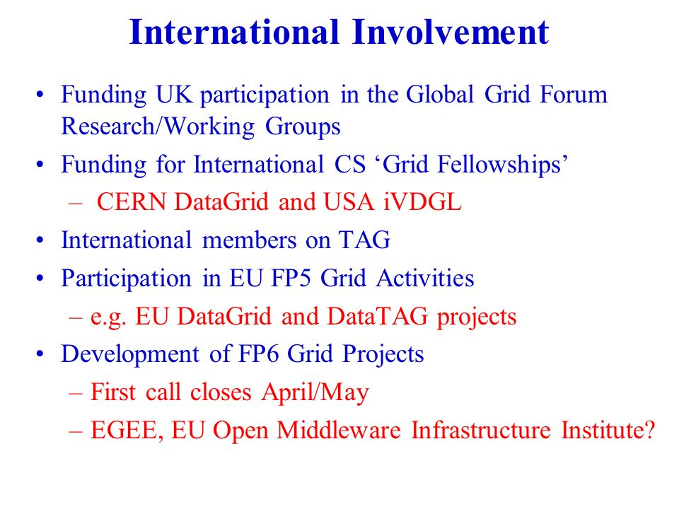 International Involvement Funding UK participation in the Global Grid Forum Research/Working Groups Funding for International CS Grid Fellowships – CERN DataGrid and USA iVDGL International members on TAG Participation in EU FP5 Grid Activities –e.g.