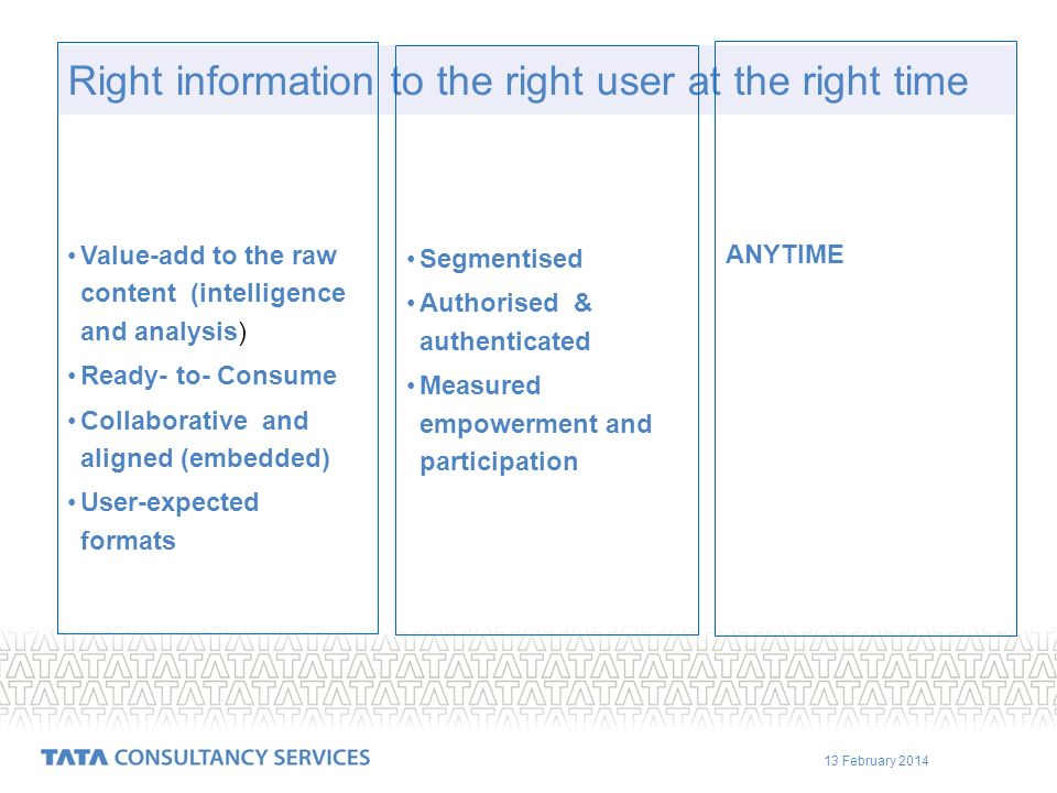 13 February 2014 Right information to the right user at the right time Segmentised Authorised & authenticated Measured empowerment and participation A