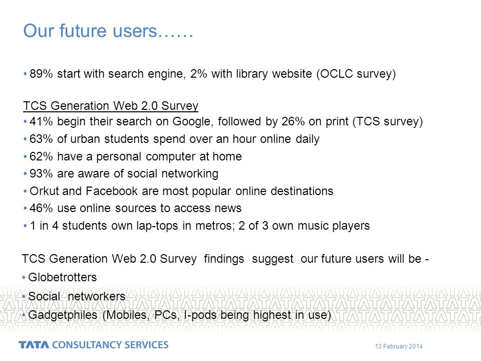 13 February 2014 Our future users…… 89% start with search engine, 2% with library website (OCLC survey) TCS Generation Web 2.0 Survey 41% begin their