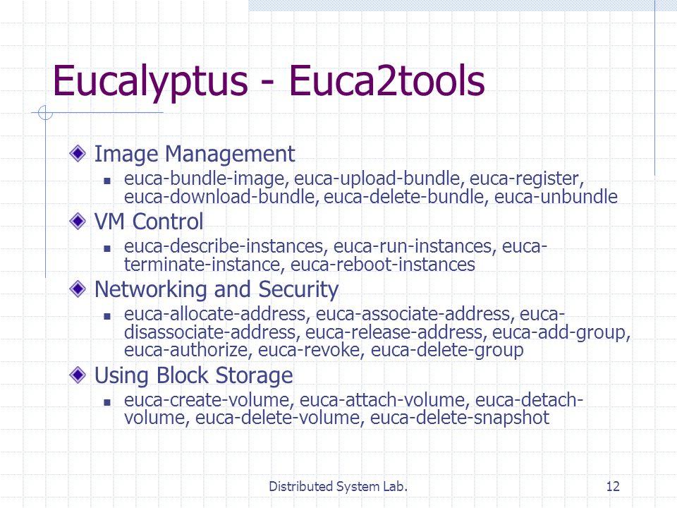 Distributed System Lab.12 Eucalyptus - Euca2tools Image Management euca-bundle-image, euca-upload-bundle, euca-register, euca-download-bundle, euca-delete-bundle, euca-unbundle VM Control euca-describe-instances, euca-run-instances, euca- terminate-instance, euca-reboot-instances Networking and Security euca-allocate-address, euca-associate-address, euca- disassociate-address, euca-release-address, euca-add-group, euca-authorize, euca-revoke, euca-delete-group Using Block Storage euca-create-volume, euca-attach-volume, euca-detach- volume, euca-delete-volume, euca-delete-snapshot