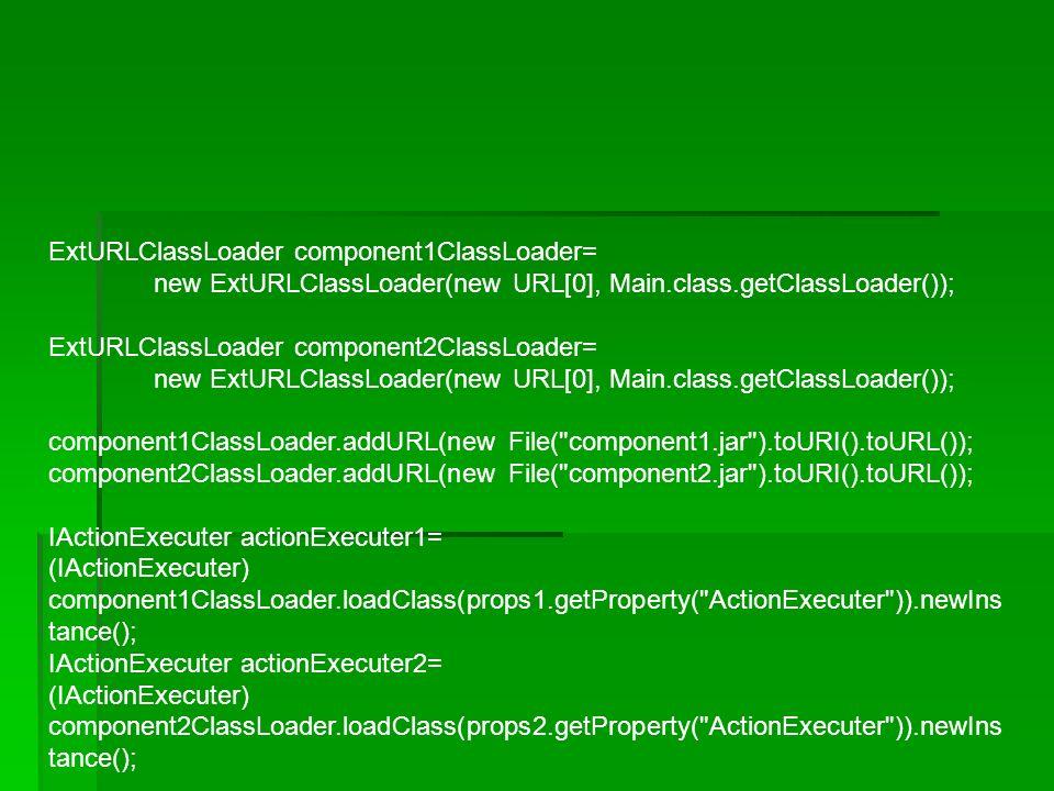 ExtURLClassLoader component1ClassLoader= new ExtURLClassLoader(new URL[0], Main.class.getClassLoader()); ExtURLClassLoader component2ClassLoader= new ExtURLClassLoader(new URL[0], Main.class.getClassLoader()); component1ClassLoader.addURL(new File( component1.jar ).toURI().toURL()); component2ClassLoader.addURL(new File( component2.jar ).toURI().toURL()); IActionExecuter actionExecuter1= (IActionExecuter) component1ClassLoader.loadClass(props1.getProperty( ActionExecuter )).newIns tance(); IActionExecuter actionExecuter2= (IActionExecuter) component2ClassLoader.loadClass(props2.getProperty( ActionExecuter )).newIns tance();