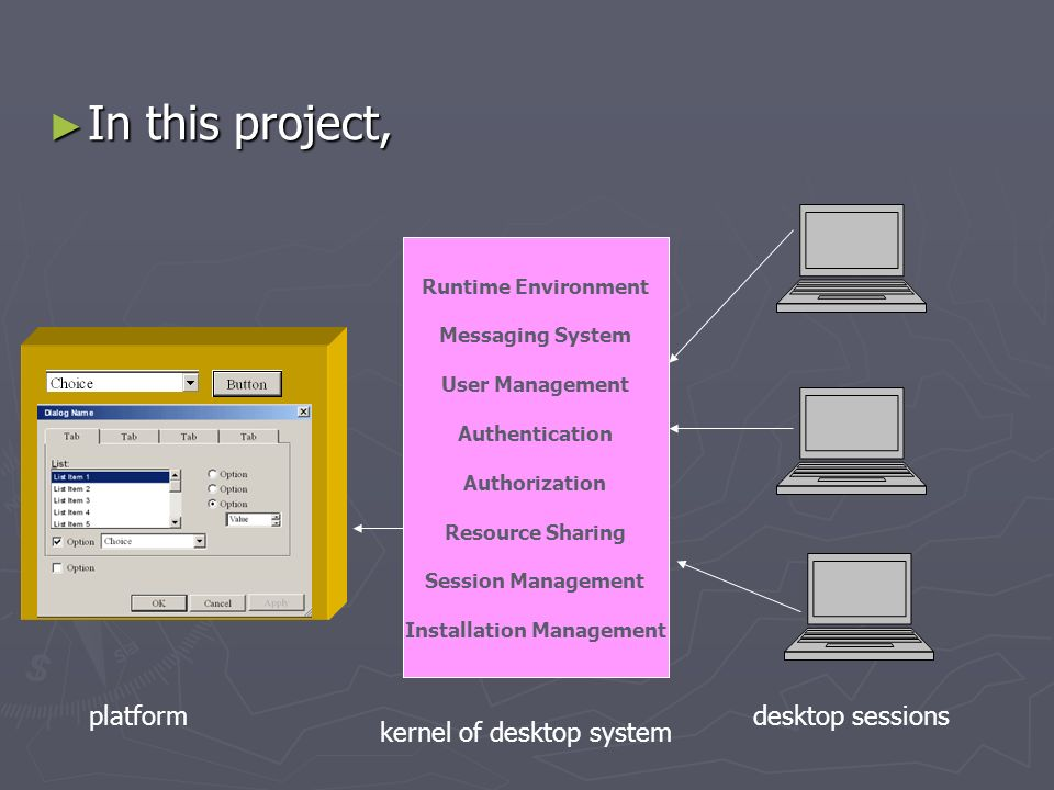 In this project, In this project, platform Runtime Environment Messaging System User Management Authentication Authorization Resource Sharing Session